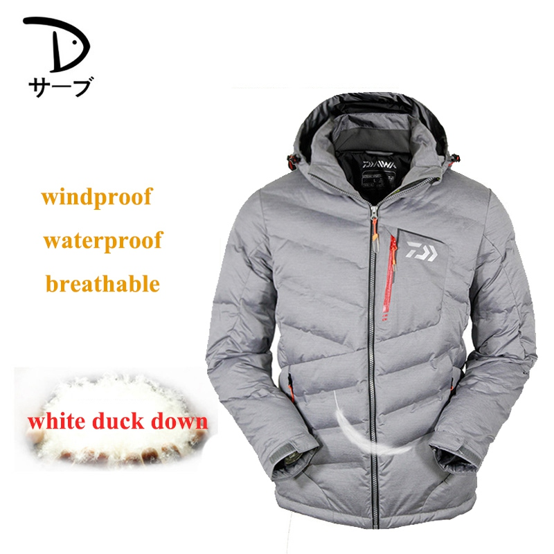Men Winter White Duck Down Jacket Warm Windproof Breathable Outdoor Sports Mountaineering Clothing Fishing Clothes outto 009a rainproof outdoor sports polyester jacket for men fluorescent green white xl