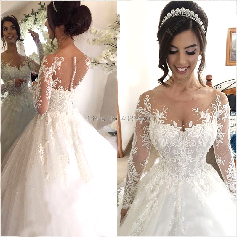 Luxury Ball Gown Peals Wedding Dresses Custom Made Tulle Bridal Wedding Gown Appliques Dresses Robe De Marriage Dubai Arabic image