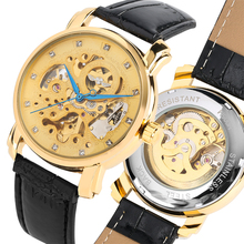 купить Automatic-self-winding Watch Golden Hollow Skeleton Mechanical Watches Blue Element Male Gifts montre homme по цене 1197.11 рублей
