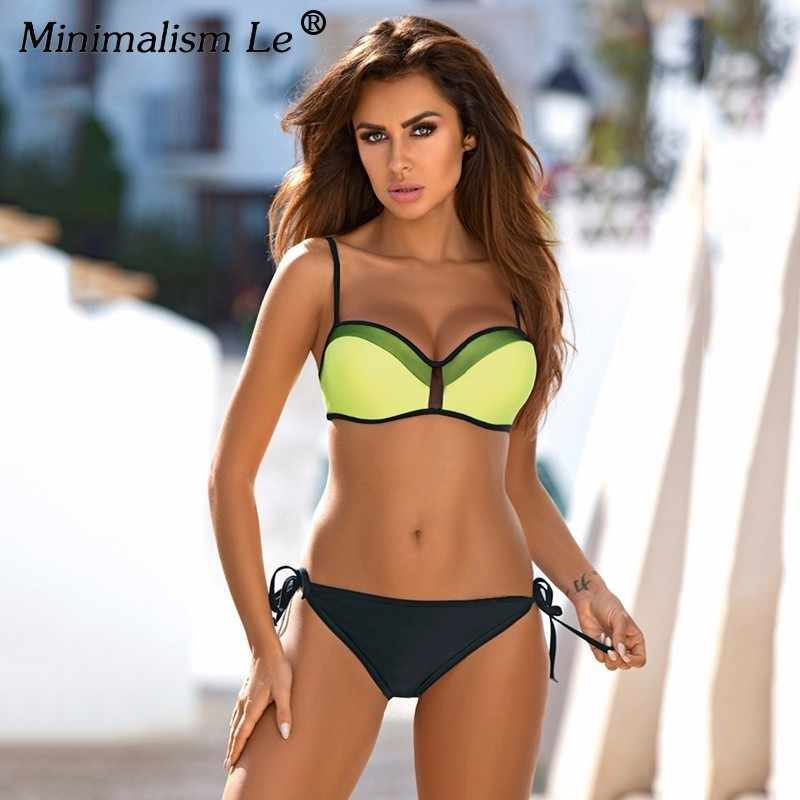 Solid Push Up Bikini Set Halter Top Bikini Hitam Bawahan Baju Renang Pakaian Renang Perban Berbatasan Baju 2020 Harga Rendah Biquini