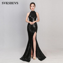 SVKSBEVS 2019 Crystal Halter Elegant Mermaid Sequined Long Dresses Party Sexy Split Hollow Out Backless Maxi Dress