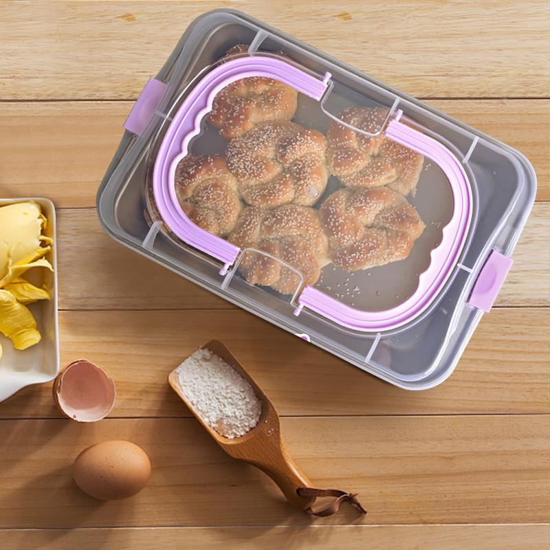 Baking Tray With Lid Portable Baking Tray Cake Bread Pan Oven Household Non-stick Carbon Steel Baking Plate Baguette Cake Tin