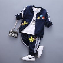 Spring and Autumn Childrens Clothing New Boys Girls Three Pure Cotton Sets 0-4 Years Old