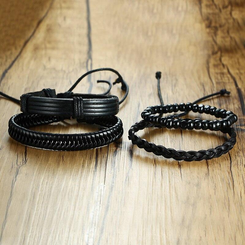 Vnox 4pcs/ Set Black Bracelets for Men Bangle Adjustable Length Bohemia Holiday Male Jewelry Punk Pulseira