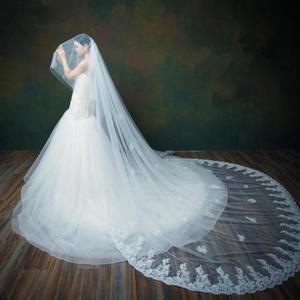 Image 3 - 3 M/4 M/5 M שנהב/לבן 2 Tier תחרה קצה קתדרלת ארוך כלה חתונת רעלה + מסרק
