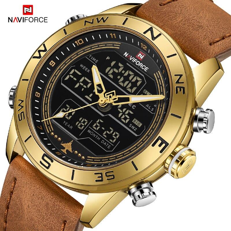 Marca de luxo homens naviforce 9144 ouro militar do exército relógio led digital couro esportes relógios quartzo relógio masculino