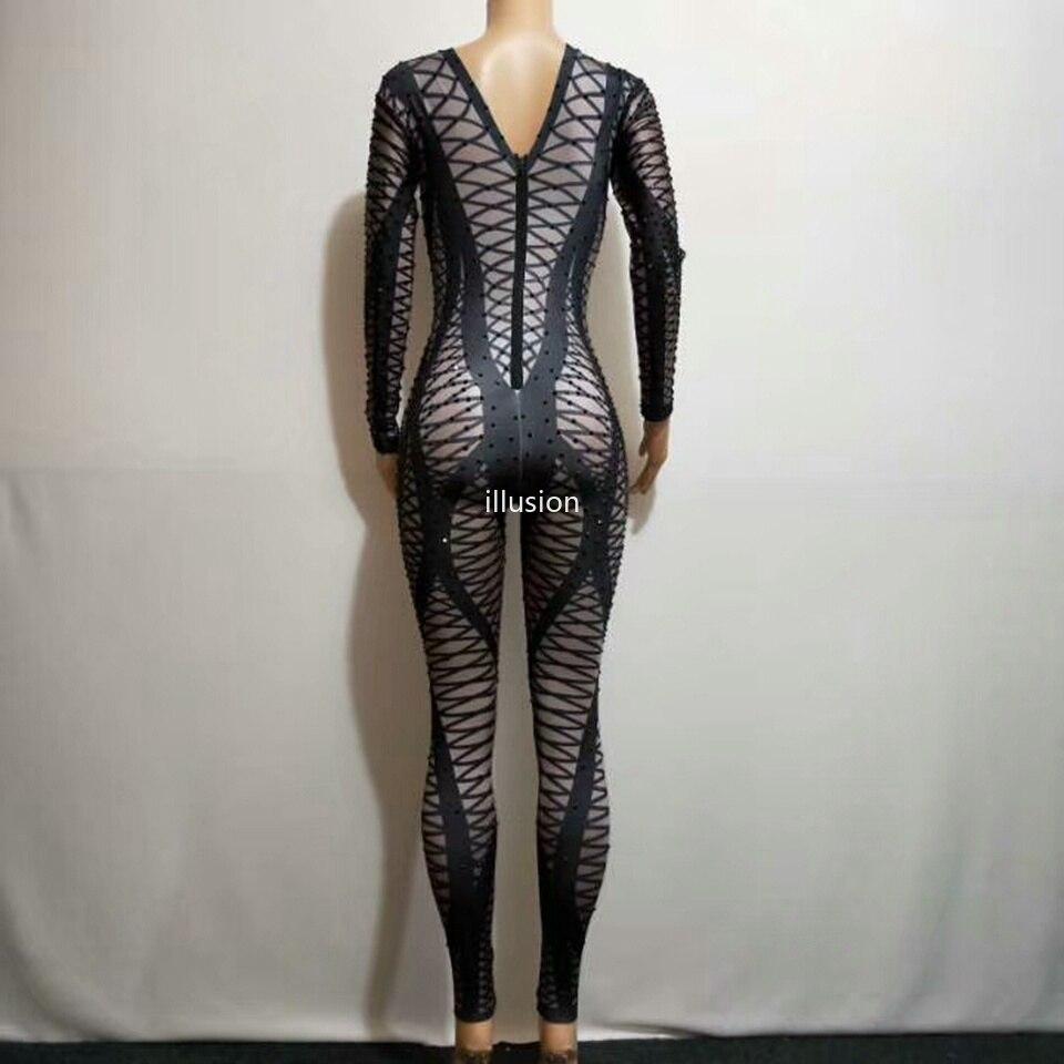 Partie Discothèque Danseur Costume Combinaison Body Leggings Seule Strass Femelle Scintillant Oufits Pour D'une Pièce Femmes Noir Chanteur Maigre 4ZqOwR