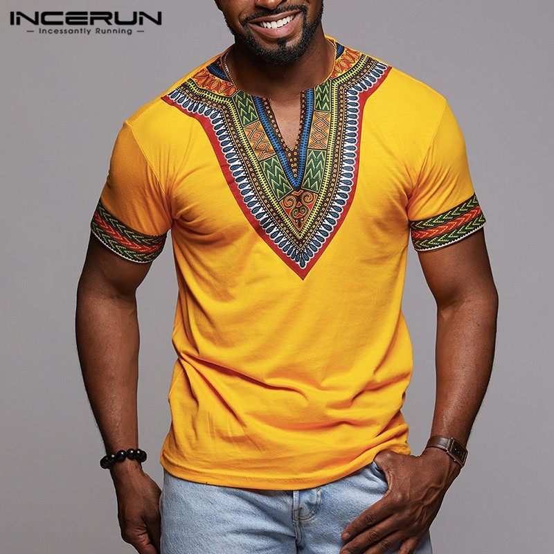 INCERUN Fashion Men Dashiki T Shirt V Neck Print Tops African Ethnic Short Sleeve Brand T-shirts Men African Clothes 2020 S-5XL