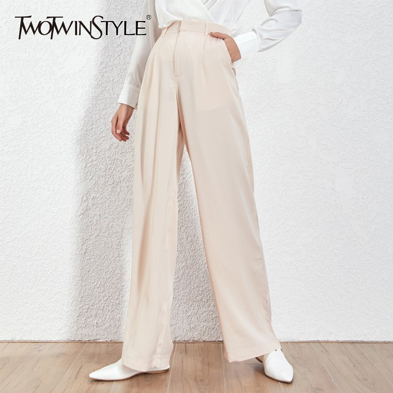 TWOTWNSTYLE Summer Loose Casual Trousers For Women High Waist Maxi Wide Leg Pants Female Elegant 2019 Fashion Clothes New
