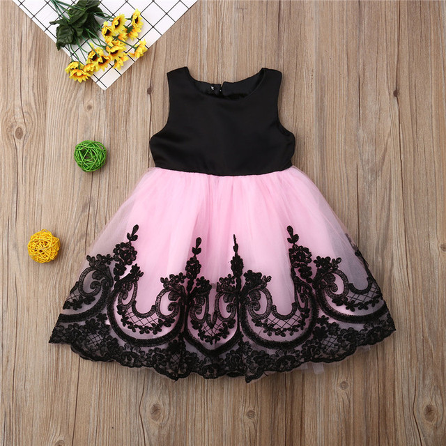 f9915cad09776 US $9.69 21% OFF|Kids Girl Big Bow Princess Dress Formal Sleeveless Lace  Tulle Tutu Wedding Party Dresses Girl Back Hollow Out Ball Gown 1 6Y-in ...