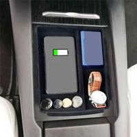 Car Wireless Charger Phone Holder Storage Box Hidden Wireless Charging For Tesla Model X/S