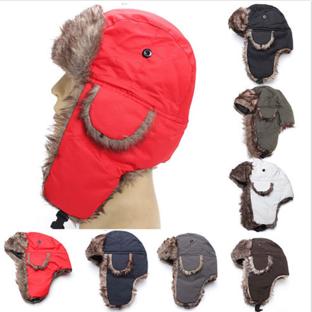 e0ca7ec8289c23 Brand 2019 New Unisex Trapper Bomber Warm Russian Trooper EAR FLAPS Winter  Ski Hat Men Women