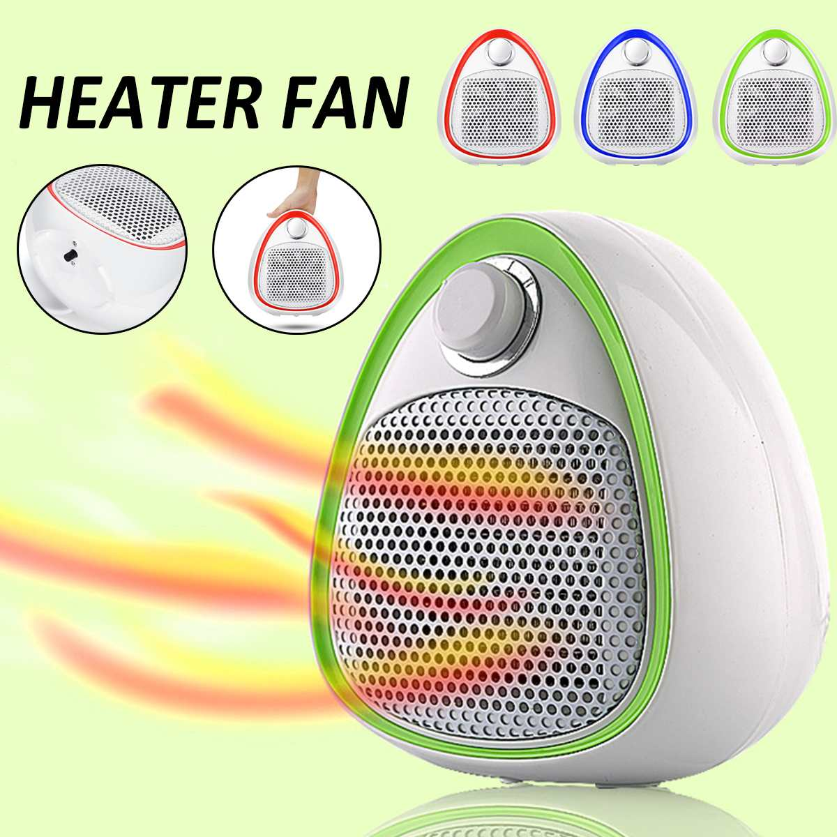 Household Electric Heater 1200W Portable Mini Air Space Warmer Blower Heating PTC Ceramic Fan Handy Heaters for Bathroom Office цена
