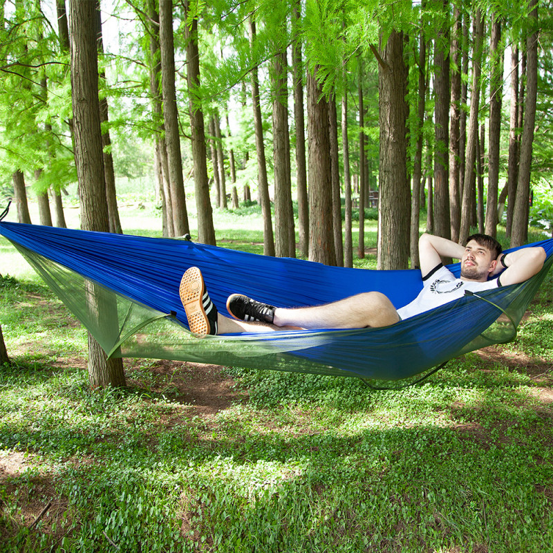 Automatic deployment ultra light hammock double parachute hammock hunting mosquito net outdoor furniture 290X140CMAutomatic deployment ultra light hammock double parachute hammock hunting mosquito net outdoor furniture 290X140CM
