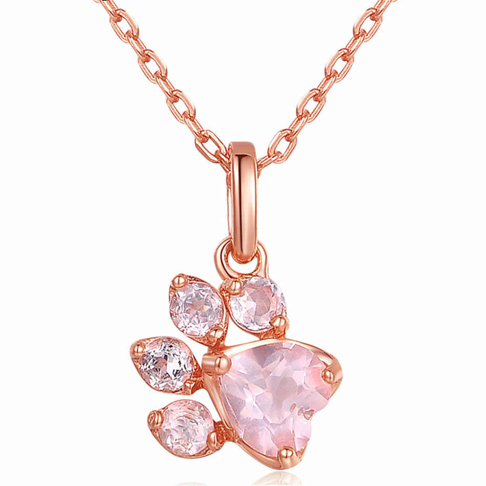 Красивое колье с котом в виде лапы из розового золота, подвеска на цепочке, ожерелье для женщин, ювелирное изделие, CZ Кристалл, короткое колье, модное ожерелье s 2018, колье