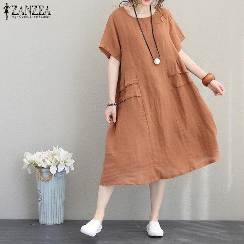 ZANZEA Women Dress 2019 Summer Midi Vestidos Ladies Short Sleeve Baggy Dresses Elegant Kaftan Robe Beach Party Sundress Oversize in Dresses from Women 39 s Clothing