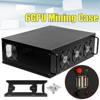 6GPU 3 Fans Mining Frame Rig Grahics Case coin miner minning case Mining Rig Case Computer For /onda D1800 BTC main board