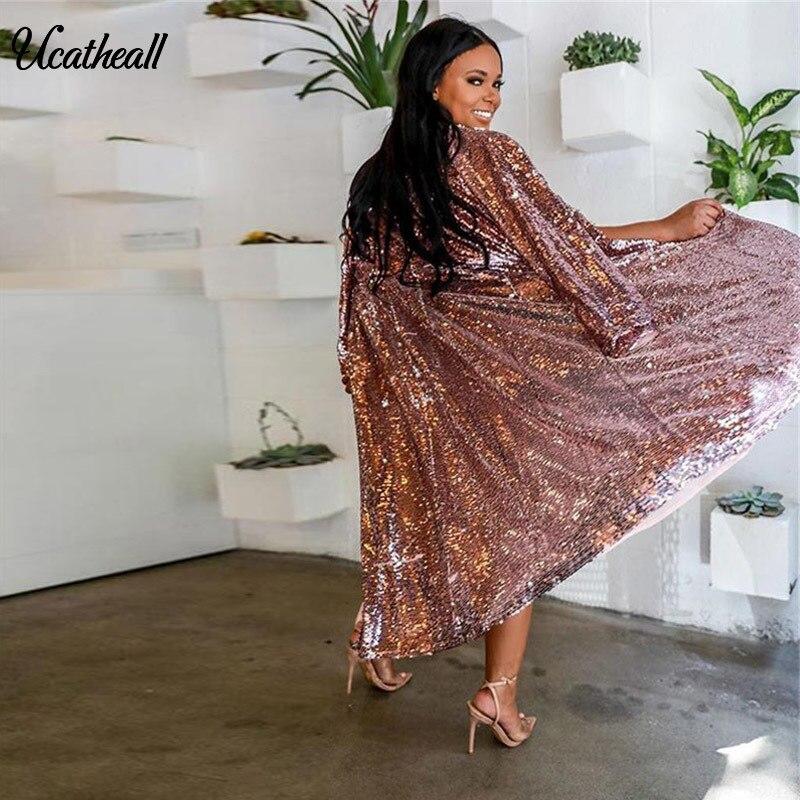Rose Trench Manteau Scintillant Glitter Long coat Les Front Open Partie Outwear Automne Pour Longue Paillette Femmes Cardigan xTwqp1agT