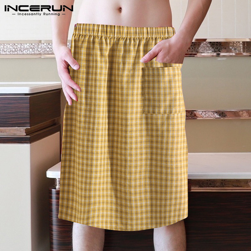INCERUN 2020 Plaid Men Bathrobes Bath Skirt Elastic Waist Shower Skirt Quick-dry Comfortable Fashion Men Beach Bath Robe S-5XL