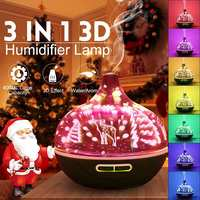 3D Glass Deer for Aroma Diffuser Ultrasonic Air Humidifier 7 Color Remote Essential Oil Diffuser Lamp with Changing LED Light
