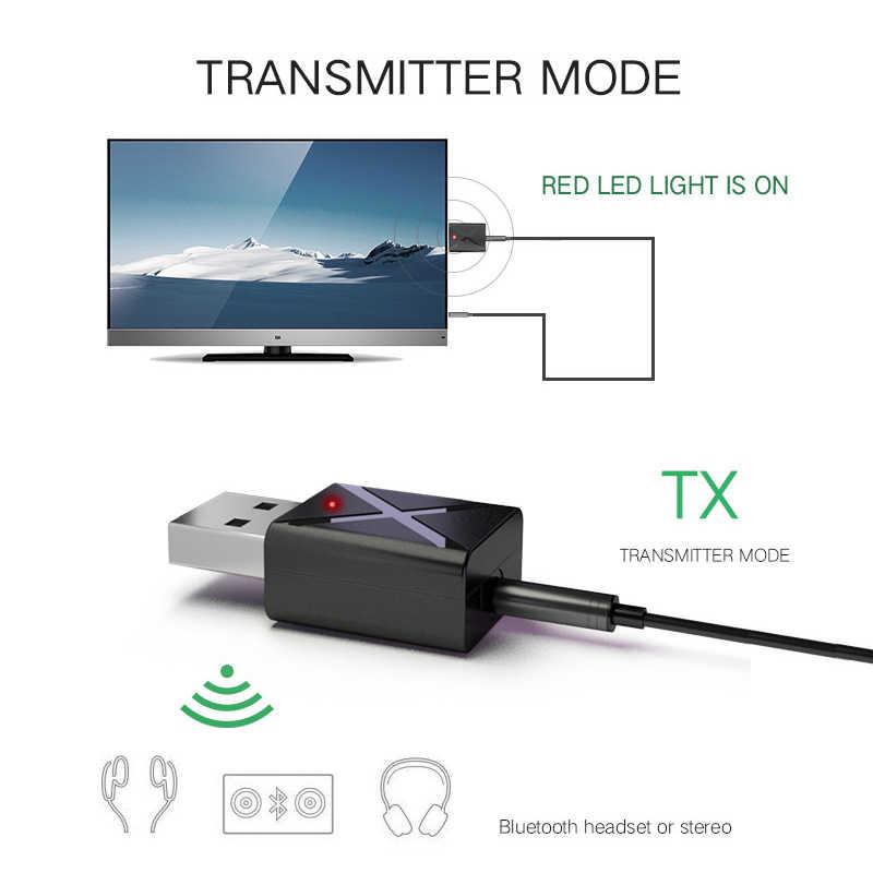 2 In 1 Bluetooth 5.0 Adaptor Receiver Transmitter MINI 3.5 Mm Aux Stereo Bluetooth Adapter untuk Mobil Rumah TV Heaphone speaker