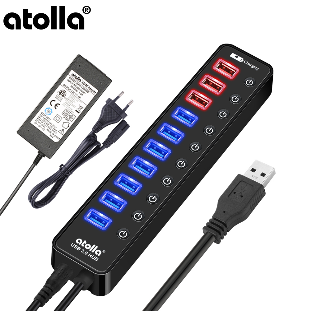 Atolla USB 3 0 Hub Powered 11 Port Extension Splitter with Individual On Off and 12V