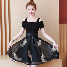 Korean fashion new 2019 summer dew shoulder lace black embroidery patchwork dress women vestido party outfit S-XXL