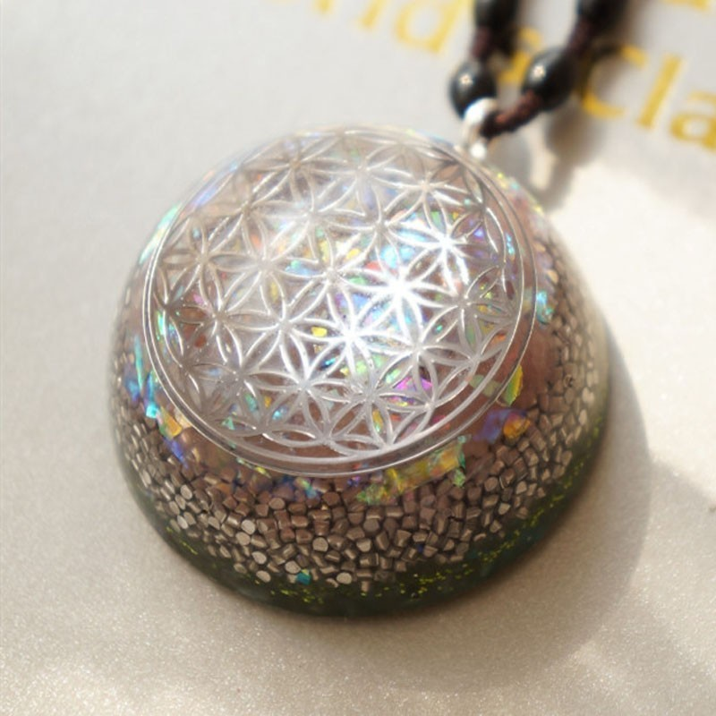 AURA  REIKI Flower Of Life Orgonite Energy Pendant Austrian Energy Pendant Transform Negative Energy Big Satellite Necklace Gift
