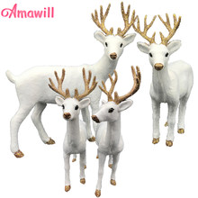 Amawill 1 Pc Plush Simulation Christmas White Reindeer Standing Xmas White Elk Deer Dolls New Year Party Decor Ornament Gift 8D