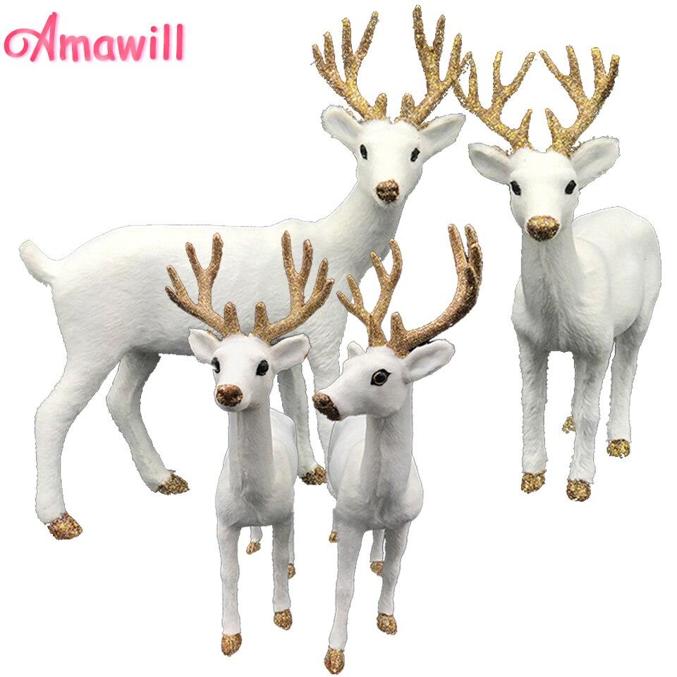 Amwill 1 pc simulação de pelúcia natal rena branca de pé natal branco elk veado bonecas ano novo festa decoração ornamento presente 8d