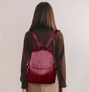 Image 2 - 2019 Female Leather Backpacks High Quality Sac A Dos Ladies Bagpack Luxury Designer Large Capacity Casual Daypack Girl Mochilas