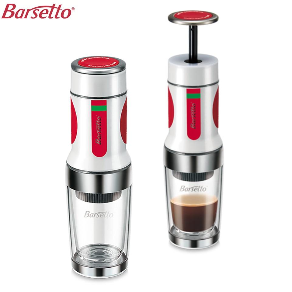 BARSETTO Portable Hand Press Coffee Maker Mini Handheld Espresso Pods Coffee Capsule Machine White in Coffee Makers from Home Appliances