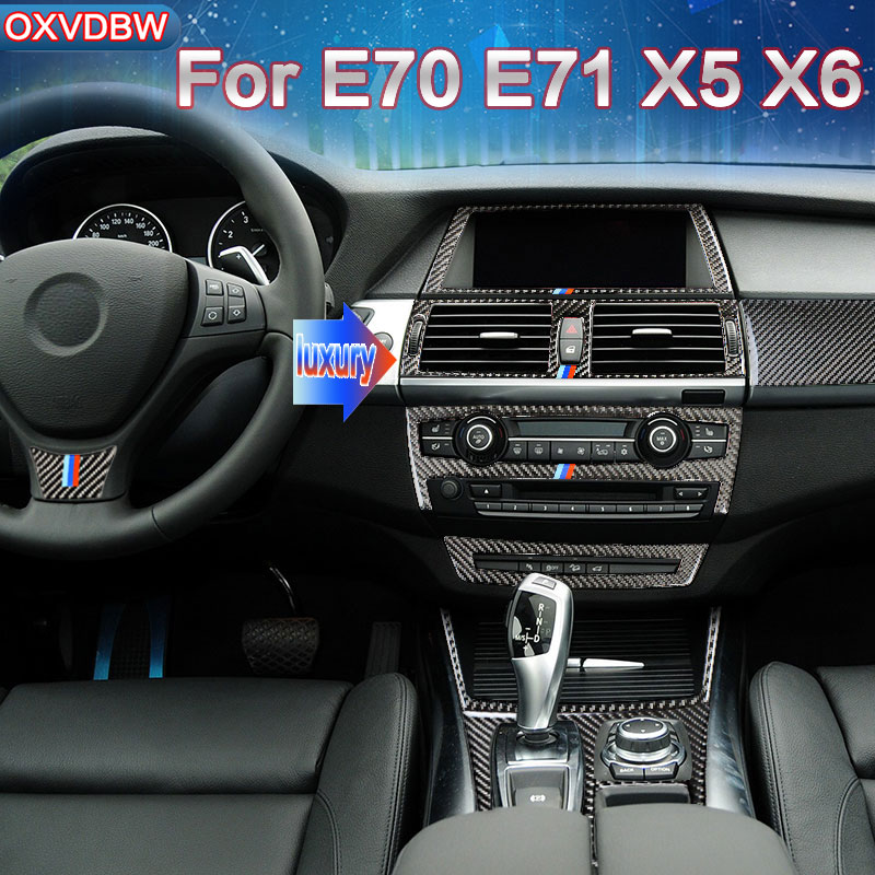For bmw e70 e71 x5x6accessories Carbon fiber Center Console Gear Panel  Air Steering Wheel Door Handle Interior decoration