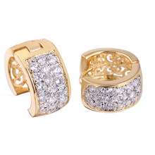 Romantic Hollow Gold Color Hoop Earrings Luxury Rhinestone Crystal Hoop Earrings Charming Jewelry Chic Birthday Gifts For Women(China)