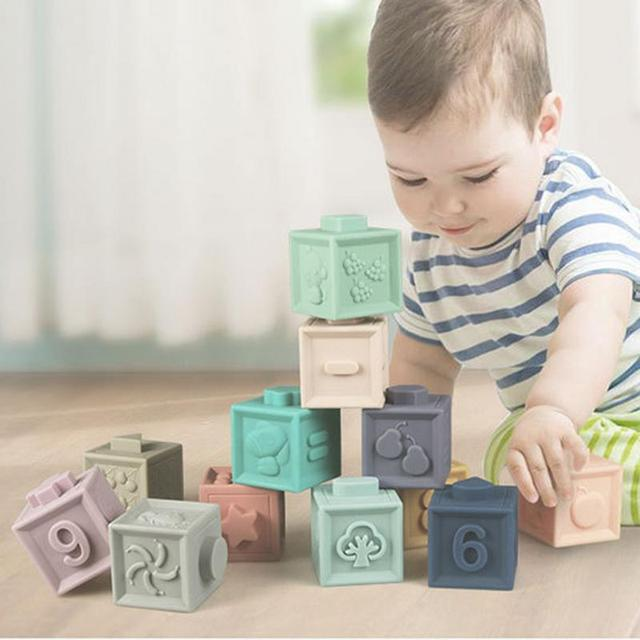 Soft Rubber Building Blocks 0-3 Years Old Puzzle Building Block Cognitive Embossed Cork Building Block DIY Puzzle Assembly