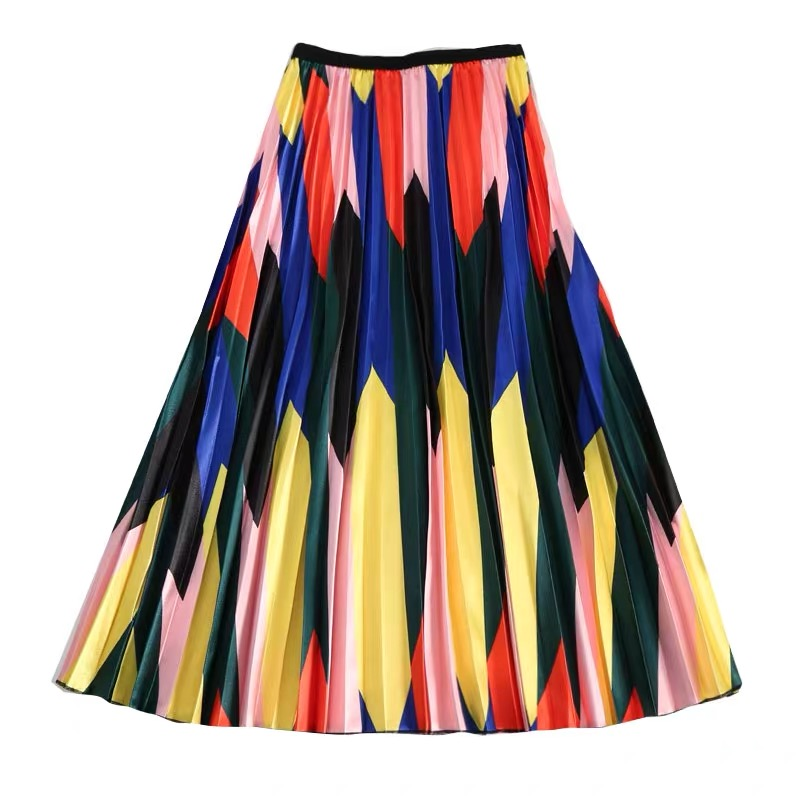 Banulin 2019 Spring Summer Skirts Womens Elastic Waist A Line Midi Skirt Mid Calf Long Skirts Contrast High Waist Pleated Skirt