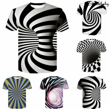 2019 Brand All Over Print Men t shirt Funny tshirt Optical Illusion Black-White Graphic O-Neck Pullover Women 3D T-Shirt