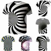 Camiseta con estampado de marca 2019 para hombre, divertida camiseta con ilusión óptica en blanco y negro, cuello redondo, pulóver para mujer, camiseta 3D