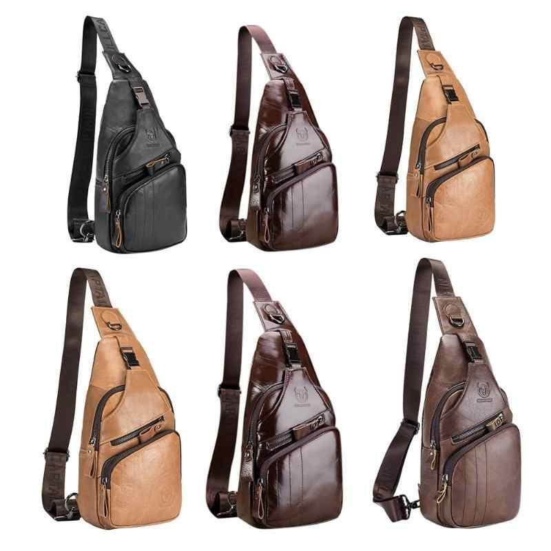 Bull Captain Men Chest Packs Casual Waist Fanny High Quality Male Shoulder  Bags Cow Leather Crossbody 1323ba49a7ef4