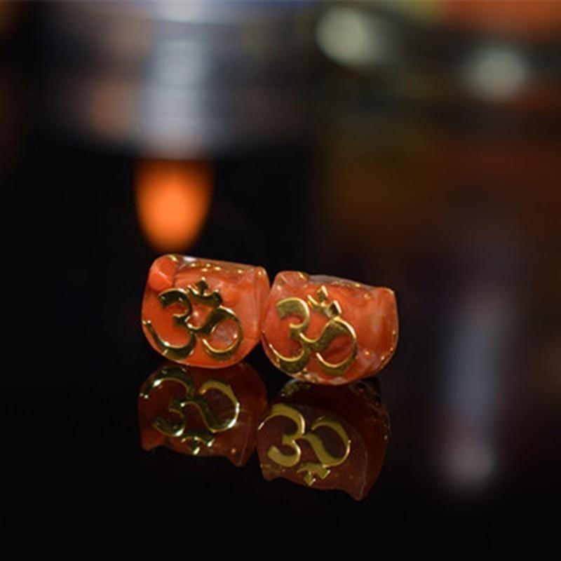 Orgonite Earrings Astrologer Hand Made Etheric Energy Silver Earrings Female Om Rune Crystal Tourmaline quartz Earrings Ss033