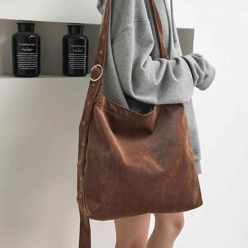 Для женщин сумки модные вельветовые Tote плеча BagLadies большой посланник  школа книга сумки 4f40bdbfa3f