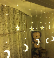 2.5m Led Moon Star Icicle Led Wedding String Light Christmas Garland 138 Led String Fairy Light For Birthday Party Decoration