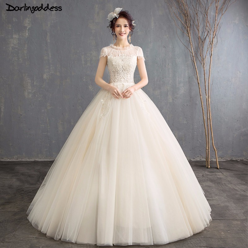 Simple Wedding Dress 2018 Short Sleeve Lace Wedding Gowns