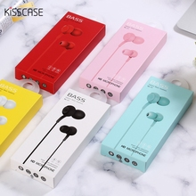 KISSCASE Bass Sound Earphones Candy Color Sport Game Earphone with Mic 3.5 mm In-ear Music Silicone Phone Tablet Headphone