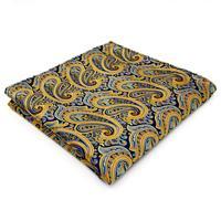 UH13 Paisley Yellow Mens Pocket Square Silk Jacquard Woven Brand New Fashion hanky 12.6