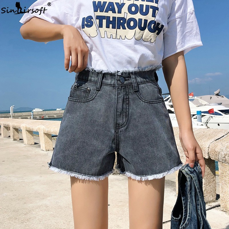 Women 39 s High Waist Denim Loose Shorts Feather Plus Size M 5XL Short Jeans Female Vintage Streetwear 2019 Summer New in Shorts from Women 39 s Clothing