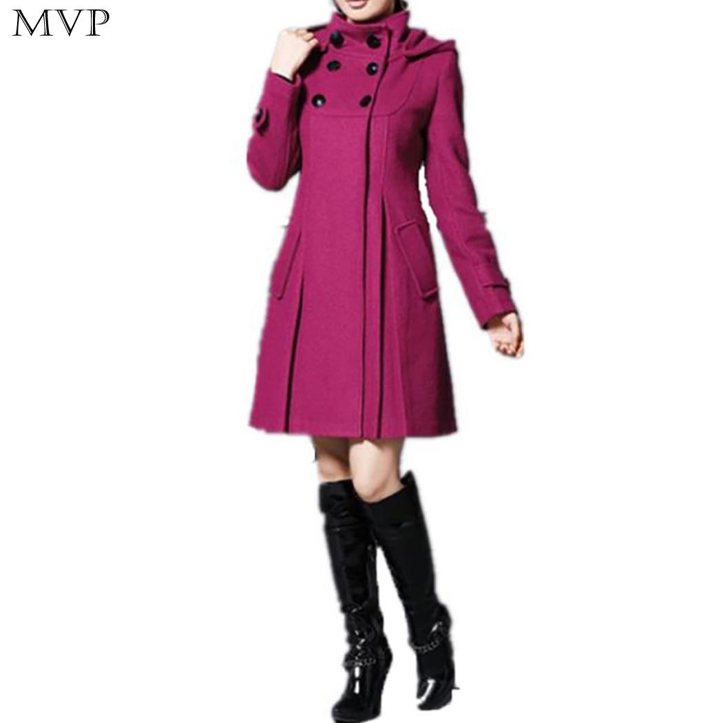 Fashion 2018 Coat Coat Long Woolen Slim Jacket Wool A-line Winter Multi-size Medium Women Autumn Warm Coat 1