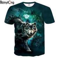 2020 nueva camiseta personalizada de verano para hombre, camiseta con dibujo de Lobo, camiseta 3D para hombre, camisetas novedosas de animales, camiseta de manga corta para hombre