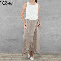 23481f66f08577 Celmia 2019 Summer Women Linen Long Skirts Casual Loose High Waist Maxi  Skirts Asymmetrical Hem Skirt