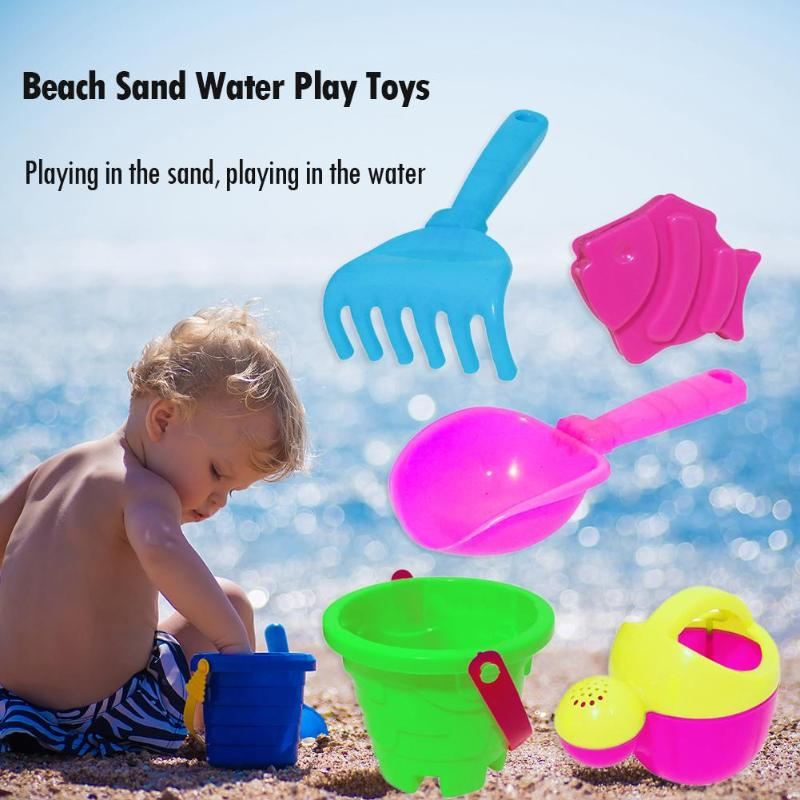 5pcs Children Kids Beach Sand Water Play Toys Bucket Spade Shovel Rake Set Gifts Outdoor Sand Playing Tools For Kid Random Color